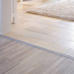 Long doorway transition flooring metal trims